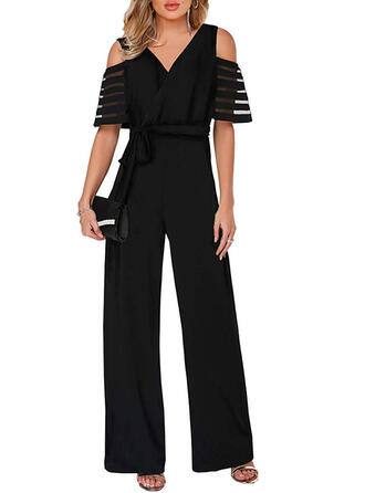 Solid Cold Shoulder Short Sleeves Elegant Party Jumpsuit