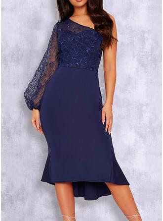 Long Sleeves Puff Sleeve Sheath Party/Elegant Midi Dresses