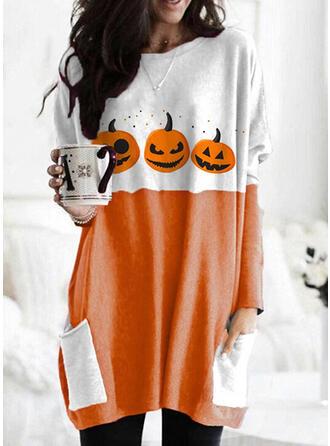 Print Color Block Halloween Round Neck Long Sleeves Sweatshirt