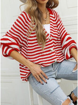 Striped V-Neck Casual Cardigan