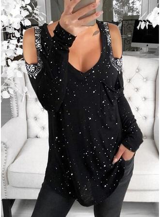 Print Floral Sequins Cold Shoulder Long Sleeves Cold Shoulder Sleeve Casual Blouses