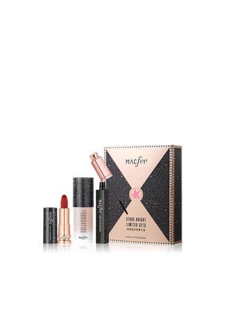 3 PCS Matte Classic Lipsticks Mascara Liquid Foundation With Box