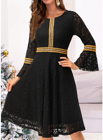 Solid Lace Long Sleeves Flare Sleeve A-line Knee Length Elegant Dresses