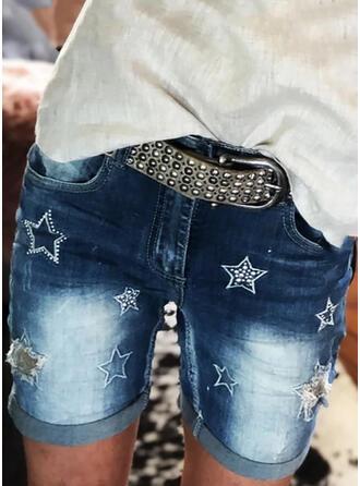 Print Plus Size Sexy Vintage Shorts Denim & Jeans