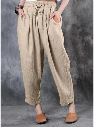 Solid Shirred Plus Size Drawstring Casual Vintga Lounge Pants