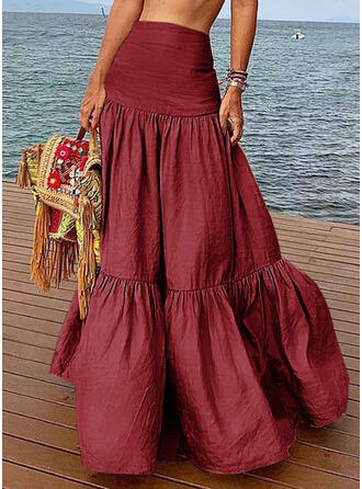 Cotton Plain Floor Length A-Line Skirts