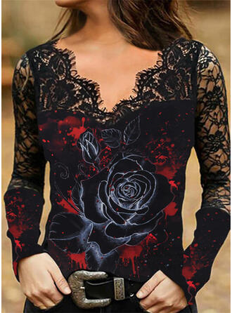 Print Floral Lace V-Neck Long Sleeves Casual Blouses