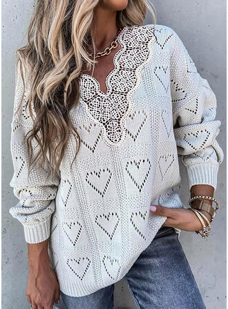 Solid Lace Heart V-Neck Casual Sweaters