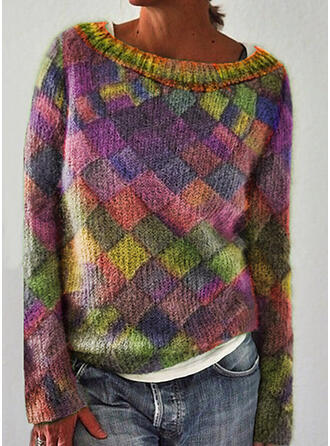 Color Block Round Neck Casual Knit Tops