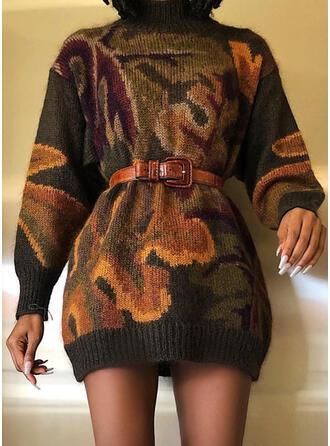 Print Long Sleeves Sheath Above Knee Casual Sweater Dresses