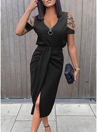 Solid Short Sleeves Sheath Knee Length Little Black/Elegant Dresses