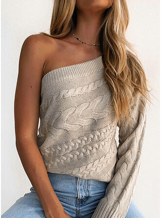 Solid Cable-knit One Shoulder Sexy Sweaters
