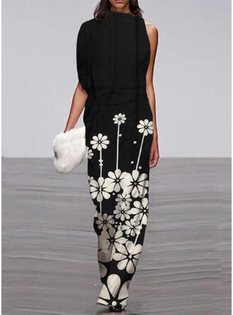 Floral Print Stand collar Short Sleeves Casual Jumpsuit