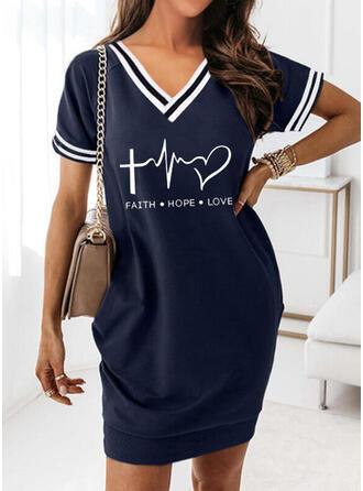 Print/Striped/Heart/Letter Short Sleeves Shift Knee Length Casual T-shirt Dresses