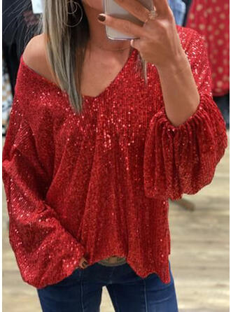 Solid Sequins Cold Shoulder Long Sleeves Party Blouses