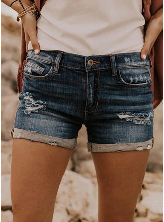 Pockets Plus Size Ripped Mini Casual Sexy Shorts