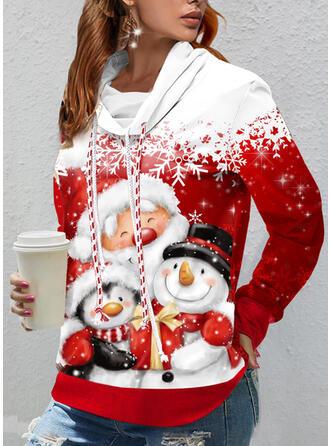 Christmas Santa Snowflake Cartoon High Neck Long Sleeves Sweatshirt