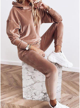 Solid Sporty Casual Plus Size Sweatshirts & Two-Piece Outfits Set