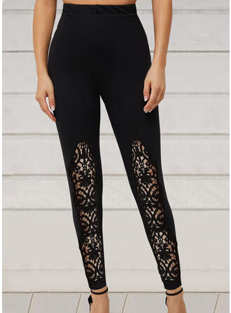 Solid Long Casual Stitching Lace Up See-through Leggings