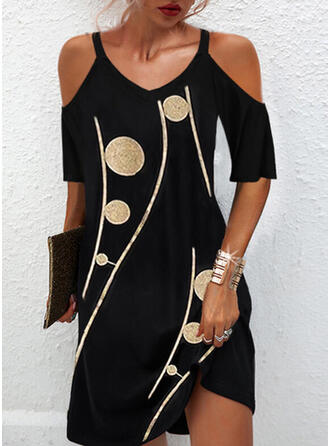 Print 1/2 Sleeves Cold Shoulder Sleeve Shift Above Knee Elegant Dresses
