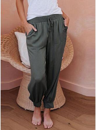 Pockets Shirred Drawstring Long Casual Plain Pants
