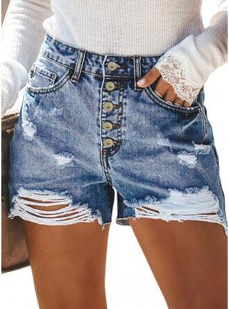 Pockets Shirred Above Knee Casual Sexy Shorts