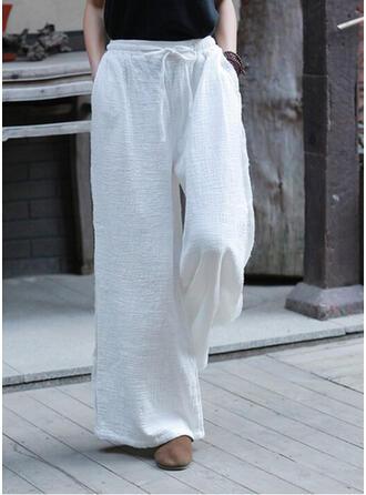 Solid Drawstring Boho Casual Elegant Lounge Pants
