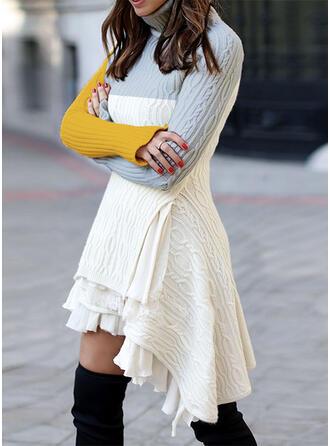 Color Block Turtleneck Casual Asymmetrical Sweater Dress