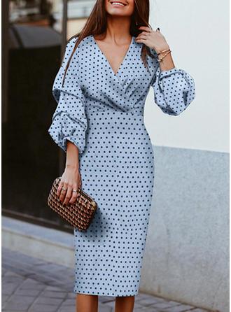 PolkaDot Long Sleeves Sheath Elegant Midi Dresses