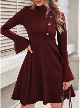 Christmas Solid Long Sleeves Flare Sleeve A-line Knee Length Party/Elegant Dresses