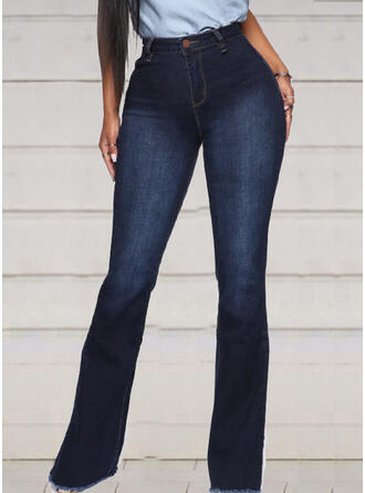Shirred Tassel Long Elegant Sexy Skinny Denim & Jeans