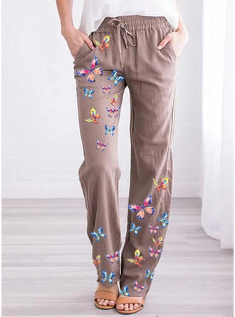 Jacquard Pockets Plus Size Long Casual Print Pants