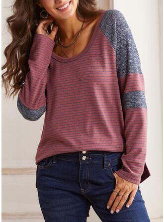 Striped U-Neck Long Sleeves T-shirts