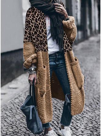 Color Block Leopard Casual Cardigan