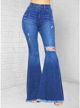 Solid Denim Long Casual Ripped Denim & Jeans