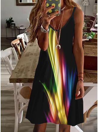 Print Sleeveless A-line Above Knee Vacation Slip/Skater Dresses