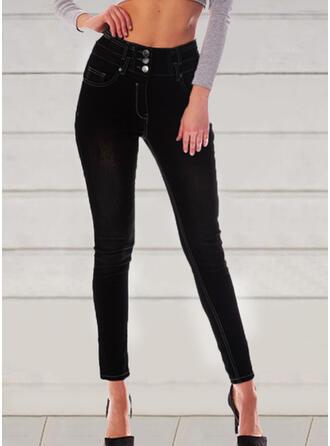 Solid Shirred Elegant Vintga Denim & Jeans