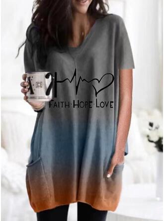 Figure Gradient Heart Print Round Neck Short Sleeves T-shirts