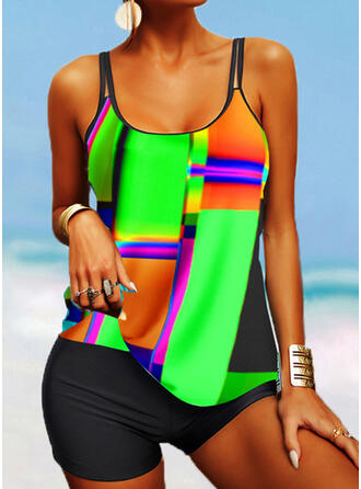 Colorful Print Strap U-Neck Casual Tankinis Swimsuits