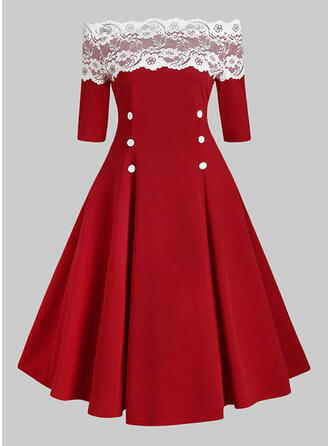 Lace/Print 1/2 Sleeves A-line Skater Christmas/Party/Elegant Midi Dresses