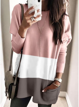 Color Block Round Neck Long Sleeves Dropped Shoulder Casual Blouses