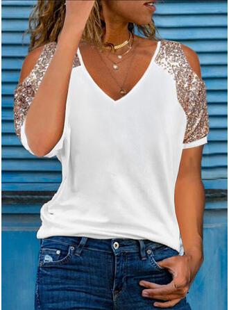 Solid Cotton Sequins Cold Shoulder Short Sleeves Cold Shoulder Sleeve Casual Blouses