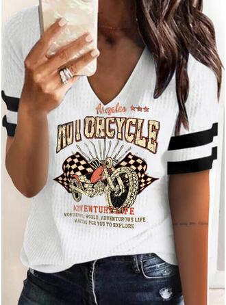 Figure Plaid Print Striped V-Neck Short Sleeves T-shirts