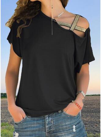 Solid One Shoulder Short Sleeves T-shirts