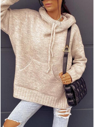 Solid Pocket Hooded Casual Sweaters