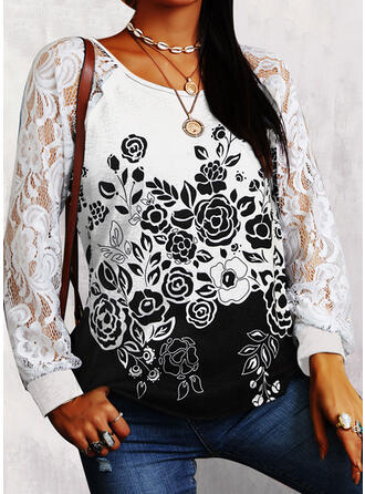 Floral Lace Round Neck Long Sleeves T-shirts