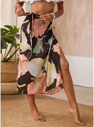 Chiffon Print Maxi Pencil Skirts