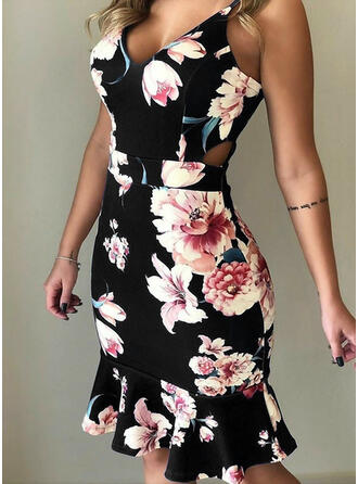 Print/Floral Sleeveless Sheath Above Knee Sexy/Party Dresses