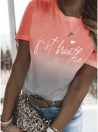 Figure Gradient Heart Print Round Neck Short Sleeves T-shirts