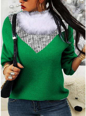 Christmas Color Block High Neck Casual Sweaters
